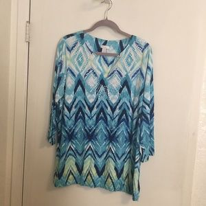 Chico's Knit Top Blues Size 3 14/16